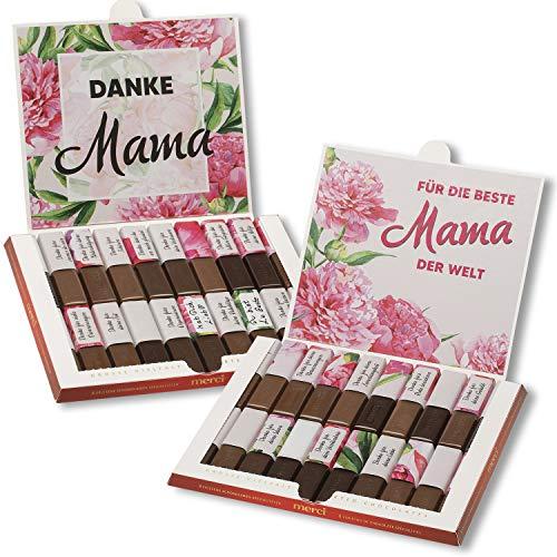 Aufkleber-Set passend für Merci Schokolade -Beste Mama- zum Muttertag mit vorgedruckten Aufklebern I selbstklebend I kreative Geschenk-Idee I Individuell I ohne Schokolade I dv_941