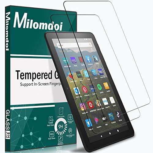 Milomdoi [2 Pack] Protector Pantalla para All-New Fire HD 8 2020 /Fire HD 8 Plus 2020 Cristal Templado, 【HD Claro】【Libre de Burbujas】 Película Protectora de Pantalla-Transparente
