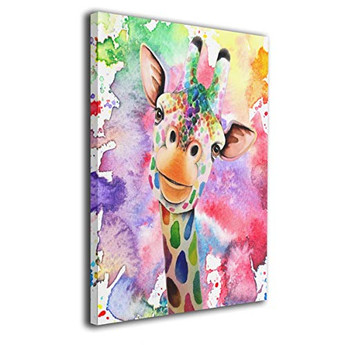 Arnold Glenn Watercolor Giraffe Canvas Wall Art Prints Picture Contemporary Paintings Decorative Giclee Artwork Wall Decor Wood Frame Gallery Wrapped