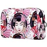 ATOMO Bolsa de maquillaje, bolsa de viaje grande para cosméticos, organizador de maquillaje para mujeres, tradicional japonés Geisha Dancing