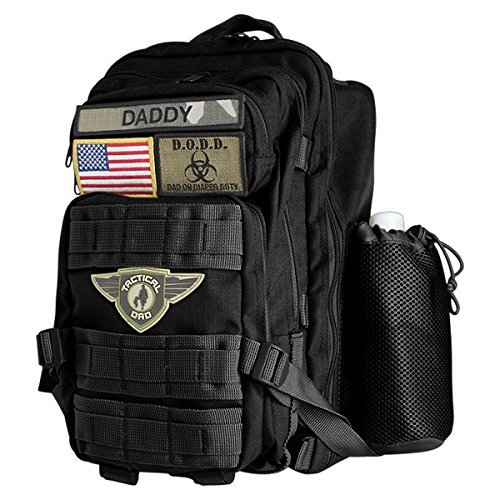 Tactical Dad Diaper Bag Backpack, Tactical Style, Made w/Military Grade Materials, Includes Changing Mat and 3 Patches/Badges (Black)