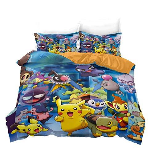 UNILIFE Juego de Cama de 3 Piezas Linda Funda Nórdica Pokémon con Funda de Almohada Funda de Edredón Pikachu de Dibujos Animados Impresos