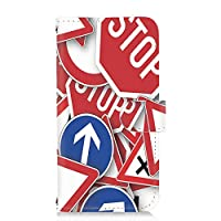 PU手帳型 カードタイプ スマホケース arrows NX (F-02G) 用 標識・ストップ 看板 USA アメリカン パロディ FUJITSU 富士通 アローズ エヌエックス docomo スマホカバー 携帯ケース スタンド american 00l_121@04c