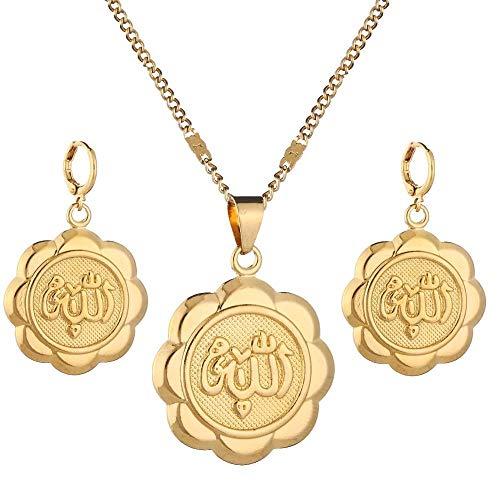 Conjunto de joyas musulmanas de flores para mujer, color dorado, religión de Alá, Islam, pendientes, collar, conjuntos de joyas
