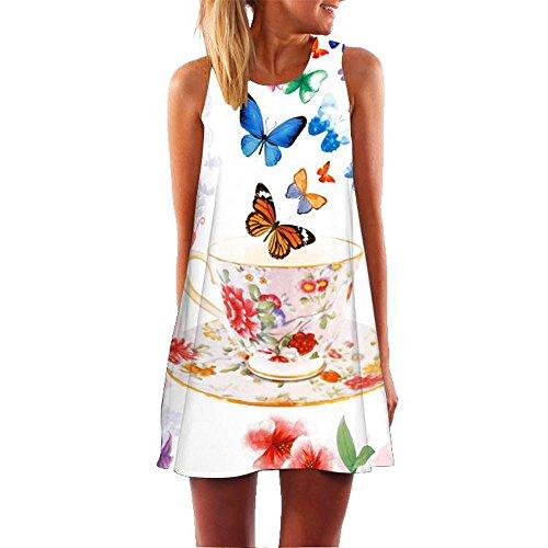 MOMOXI Vestidos para Mujer Mini Vestido Corto Corto de Moda de la Vendimia de la impresión de la Playa del Verano de Las Mujeres sin Mangas de Boho Larga Elegante Novia Fiesta o cóctel Boda
