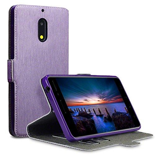 Nokia 6 Cover, Terrapin Cover di Pelle con Funzione di Appoggio Posteriore per Nokia 6 Custodia Pelle, Colore: Porpora