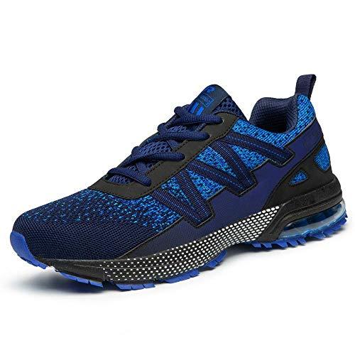Straßenlaufschuhe Herren Damen Laufschuhe Fitness Turnschuhe Sneakers Air Sportschuhe Running Shoes(8901-Blau,41EU)