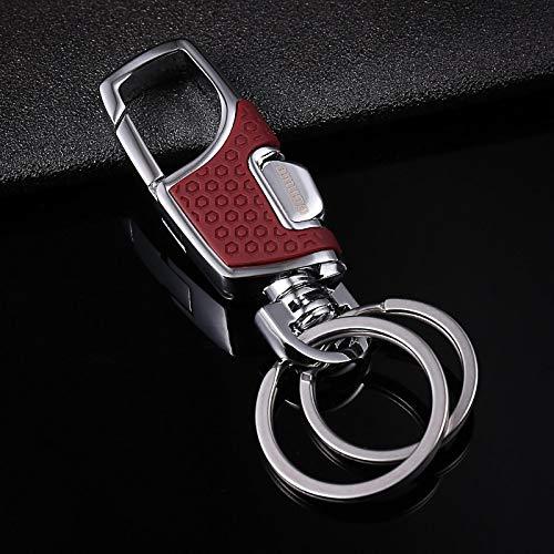 SZLGPJ Automático Coche Llave Papel de Aluminio Hombre Cintura Colgante Doble Anillo luz par Llavero Llavero Hembra Llavero de Acero Inoxidable