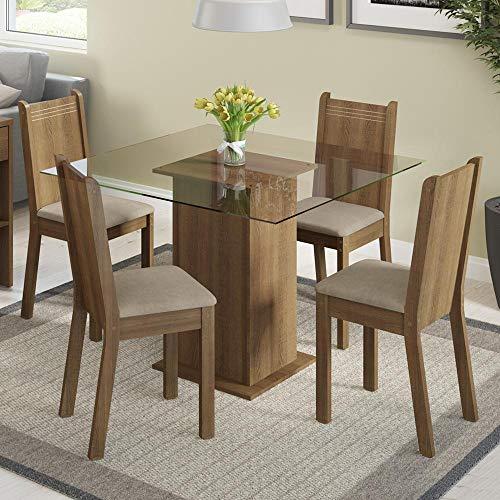 Conjunto Sala de Jantar Mesa e 4 Cadeiras Magda Madesa Rustic/Pérola