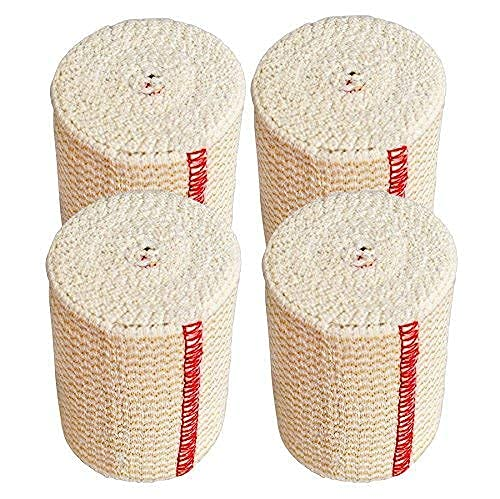 GT USA Organic Cotton Elastic Bandage Wrap (3 Wide, 4 Pack) | Hook & Loop Fasteners at Both Ends | Latex Free | Hypoallergenic Compression Roll for Sprains & Injuries