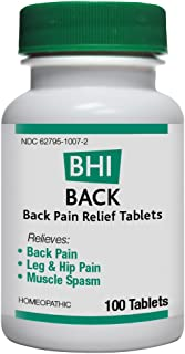 BHI Back Pain Relief Natural, Safe Homeopathic Relief - 100 Tablets