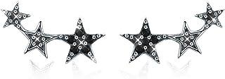 Pendientes estrella Mujer Plata de Ley 925 Ear Cuffs Hoop Climber hipoalergénicos circonita cúbica regalos día de Navidad ...