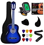 """Vizcaya Kids Beginner 31"""" Classical Acoustic Guitar 1/4 Size Nylon Strings Classical Guitar With Gig Bag, Strap, Picks, Pick Holder, Extra Strings, Electronic Tuner for Students, Adults-Blue"""