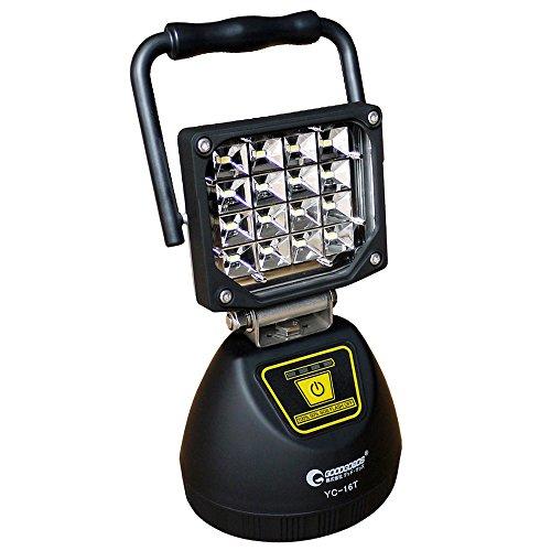 グッドグッズ(GOODGOODS) LED 投光器 充電式 16W 作業灯 マグネット USBポート付き 4モード 夜間照明 防災グッズ YC-16T
