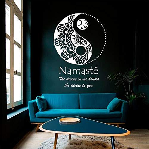 Ajcwhml Calcomanía de Pared con símbolo de Yin Yang Dios está en mí, te Respeto, meditación, Yoga, Vinilo, Pegatina, Mural para Sala de Estar, 67X96 CM-67X96CM
