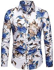 pamkyaemi Hawaïhemd voor heren, lange mouwen, 3D roos, bedrukt, vrijetijdshemd, shirt, Seaside Holiday stijl, shirt met lange mouwen, button down Hawaiihemd, regular fit