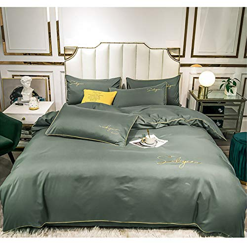 DUIPENGFEI Pure Color Brushed Embroidery Four-Piece Bed, Pure Cotton Skin-Friendly Duvet Cover Set, Green Gray, Double Duvet Cover 200X230Cm