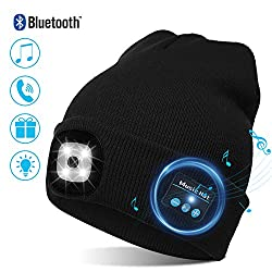 TAGVO USB LED Beanie Cap Bluetooth 5.0 Beanie, Integrated Stereo Speaker & Microphone, Winter Warm Knitted Lighting Wireless Bluetooth Headset Music Hat for Running Hiking Men Women