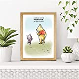 CUSTOMISED Sweet Winnie The Pooh Art Print featuring Piglet | Sweet, Charming Design | A3, A4 and A5 Wood Effect Frames Available Made in UK