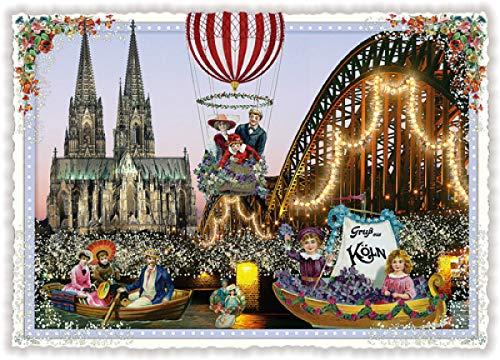 Nostalgische Postkarte mit Glitzer * Gruß aus Köln * Kölner Dom & Rhein