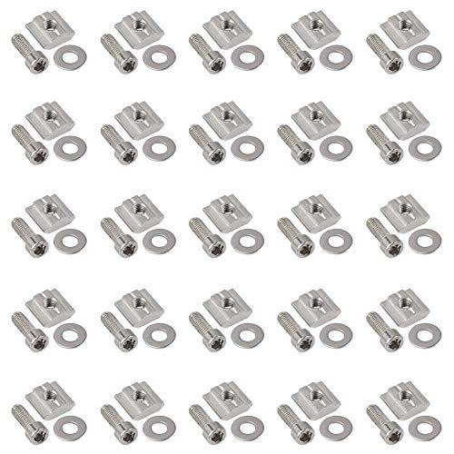 50 Stück Aluprofil Steckverbinder Set Serie 3030 3060 M6 T NUT 8 Schieber Kit mit Gewinde, einschließlich Unterlegscheibe