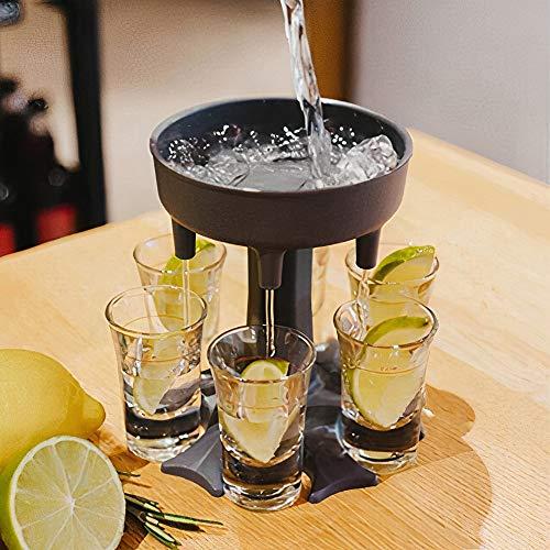 Distributore di 6 bicchierini da liquore e dispenser per riempire liquidi e bevande, con supporto per dispenser di vetro, dispenser per feste, cocktail, dispenser per liquori, giochi (grigio)