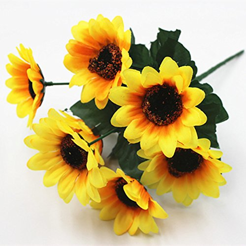 Wedding Simulation Flower Wedding Guide Table Decoration Bouquet 7 Sunflowers Small Sunflower 30cm yellow