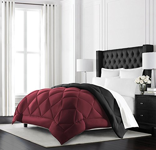 Beckham Hotel Collection Goose Down Alternative Reversible Comforter - All Season - Premium Quality Luxury Hypoallergenic Comforter - Full/Queen - Burgundy/Black