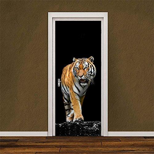 Yanqiao ドア用のステッカー 虎という動物 はがせる壁紙 おしゃれでかっこいいシール式 壁飾り
