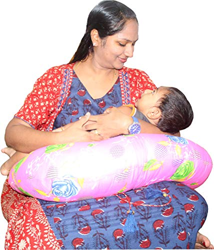 Bottom Genius Baby's Cotton Printed Feeding Pillow and Positioner with Removable Slip Cover, Multi