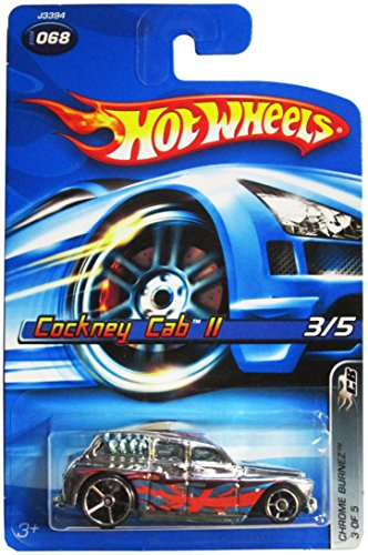 Hot Wheels Chrome Burnerz Series #3 Cockney Cab 2 Silver Windows Large Rear Wheel #2006-68 Collectible Collector Car Mattel 1:64 Scale
