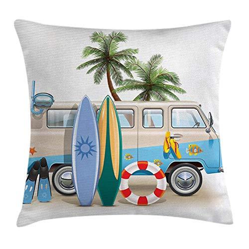 wwoman Funda de cojín de surf con elementos de buceo, aletas de esnórquel y viaje de furgoneta, funda de almohada decorativa cuadrada multicolor, 45 x 45 cm