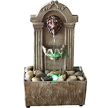 Newport coast collection Lion Head Color Changing LED Tabletop Water Fountain with Adapter (included)