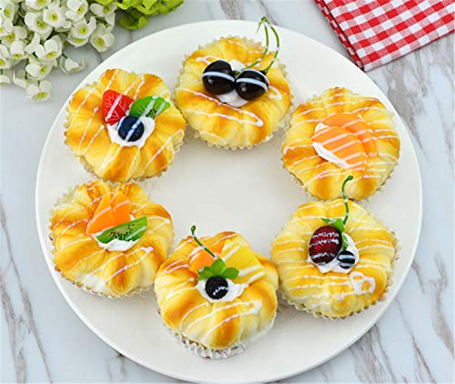 Skyseen 6Pcs Realistic Artificial Fake Cake Cupcake Bread Dessert Model Home Staging Equipment Crafts Photography Props Home Decoration
