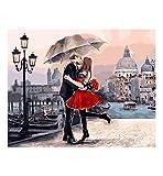 Creatividad Red Lovers umbrella kiss street in the rain DIY pintura por números para adultos niños lienzo técnicas caligrafía pintura regalo de boda arte decorativo-1