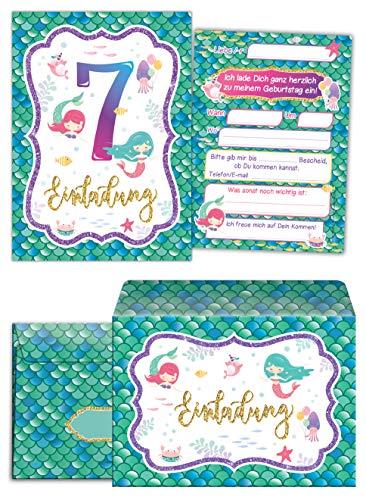 Junaversum 12 Einladungskarten incl. 12 Umschläge zum 7. Kindergeburtstag Mädchen Meerjungfrau Einladungen siebte Geburtstag