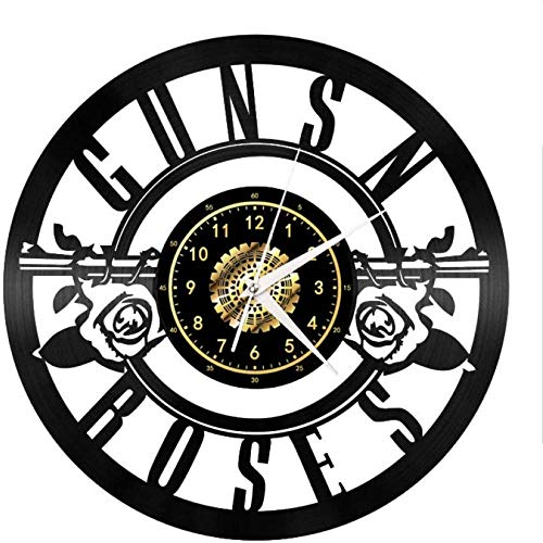 wwwff Horloge Murale en Vinyle - Guns N Roses - Retro Atmosphere Silhouette Record Cadeau Fait à la Main Cool Home Art Decor Aucune lumière LED 12 Pouces-No_LED_Light