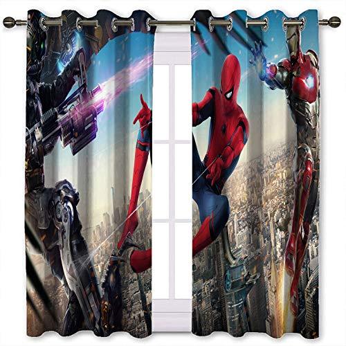 Cortinas cortas Hombre araña usado telaraña Lanzador vs monstruos y Iron Man Póster telón de fondo cortinas de 183 x 214 cm