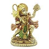 Hindu God Flying Hanuman Statue - Indian Lord Gold Finish - Flying Hanuman Carrying Herb Bearing Mountain - Idol Murti Pooja Sculpture - India Figurine for Home Temple Mandir Decor