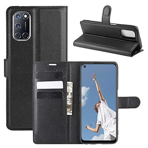 Fertuo Hülle für Oppo A72 / A52, Handyhülle Leder Flip Hülle Tasche mit Standfunktion, Kartenfach, Magnetschnalle, Silikon Bumper Schutzhülle Cover für Oppo A72 / A52, Schwarz