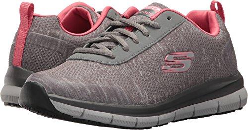 Skechers womens Comfort Flex Sr - Hc Health Care Professional Shoe, Grey/Pink, 6 Wide US