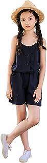 HIMOE オーバーオール キッズ 女の子 サロペット キャミ コンビネゾン ワイドパンツ カジュアルパンツ ゆったり 可愛い おしゃれ 無地 通園 夏 (160サイズ, ネイビー)