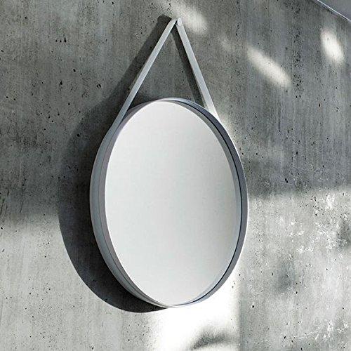 STRAP : un joli miroir rond en acier thermolaqué gris, muni d'une bandoulière en silicone. déco et design.