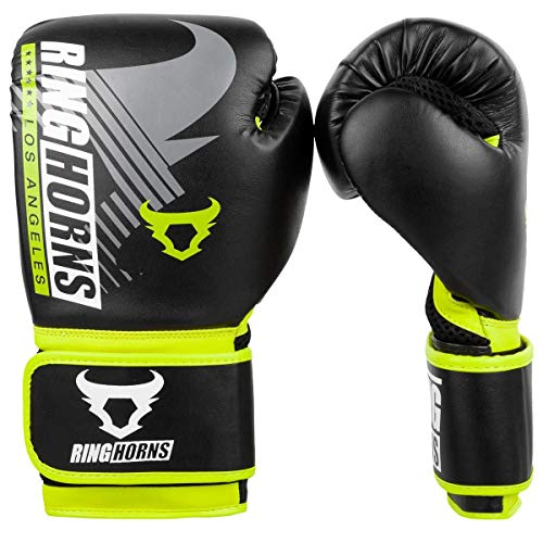 Ringhorns Unisex-Adult Charger MX Boxhandschuhe, Schwarz/Neon Gelb, 12 Oz