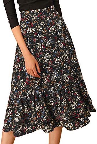 Allegra K Women s Floral Skirt Chiffon Elastic Waist Ruffle Tiered Flowy Midi Skirts X Large product image