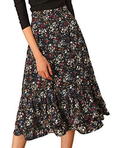 Allegra K Women's Floral Elastic Waist Tiered Ruffle Hem Flowy Midi Skirt Large Black-Floral
