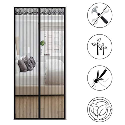 Magnetische vlieg insectengordijn deur anti-muggengordijn versleuteling mute magneet zachte garen gordijn gordijn scherm vliegen anti-muggengordijn zelfklevende gordijn partitie/wit 110X220CM Zwart
