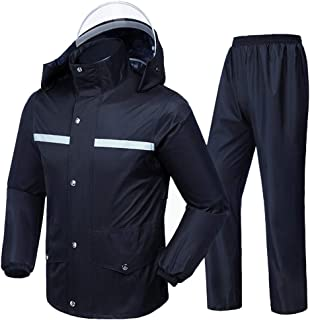 Radvihay Men's Raincoat Suit Waterproof Jacket and Trousers Set Hooded Rainwear Outdoor Work Motorcycle Golf Fishing (Size...