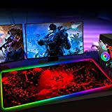 Mouse Pads Large Size RGB Gaming Mouse Pad Red Snake LED Light Large Mouse Mat Office Computer Keyboard pad Waterproof Desk Mat (23.6x11.8) inch