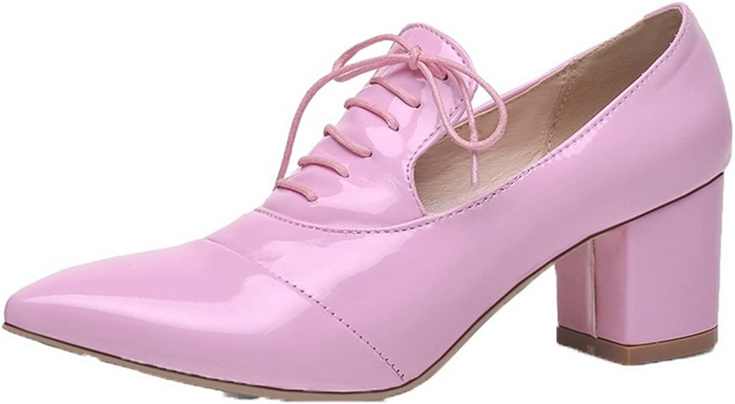 AllhqFashion Women's Pull-On Patent Leather Closed-Toe Kitten-Heels Pumps-shoes